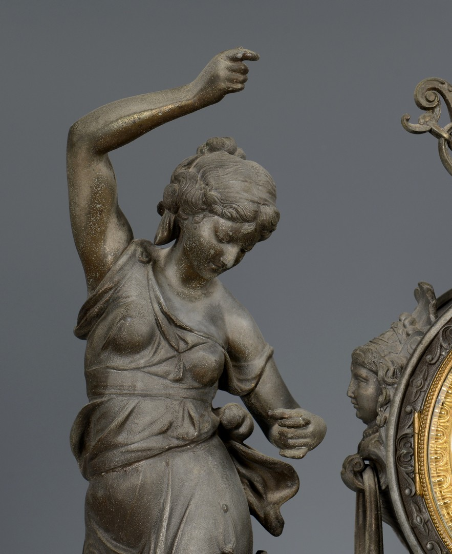 Lot 763: Ansonia Double Figural Clock, Fisher & Hunter