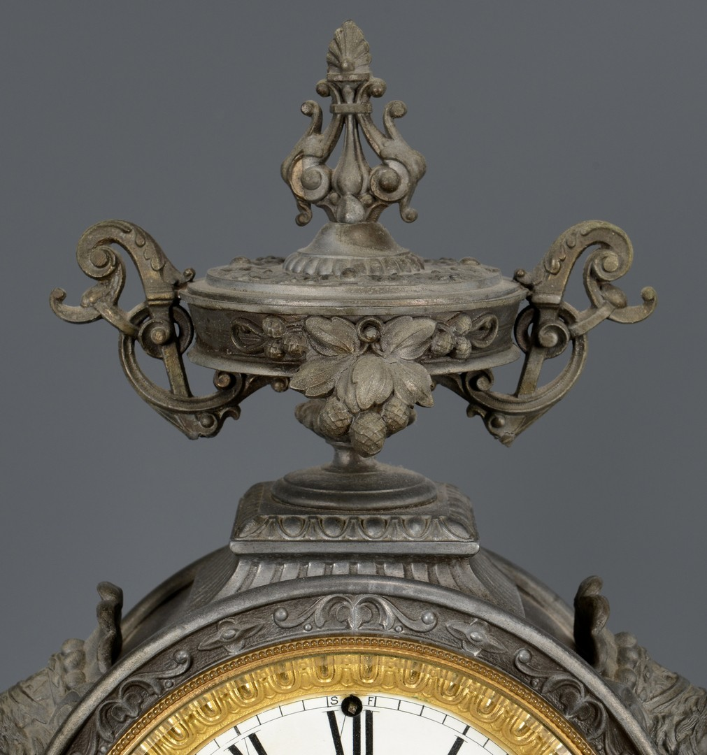 Lot 763: Ansonia Double Figural Clock, Fisher & Hunter