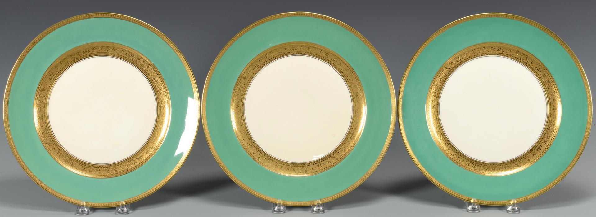 Lot 768 8 Rosenthal Green Gilt Dinner Plates