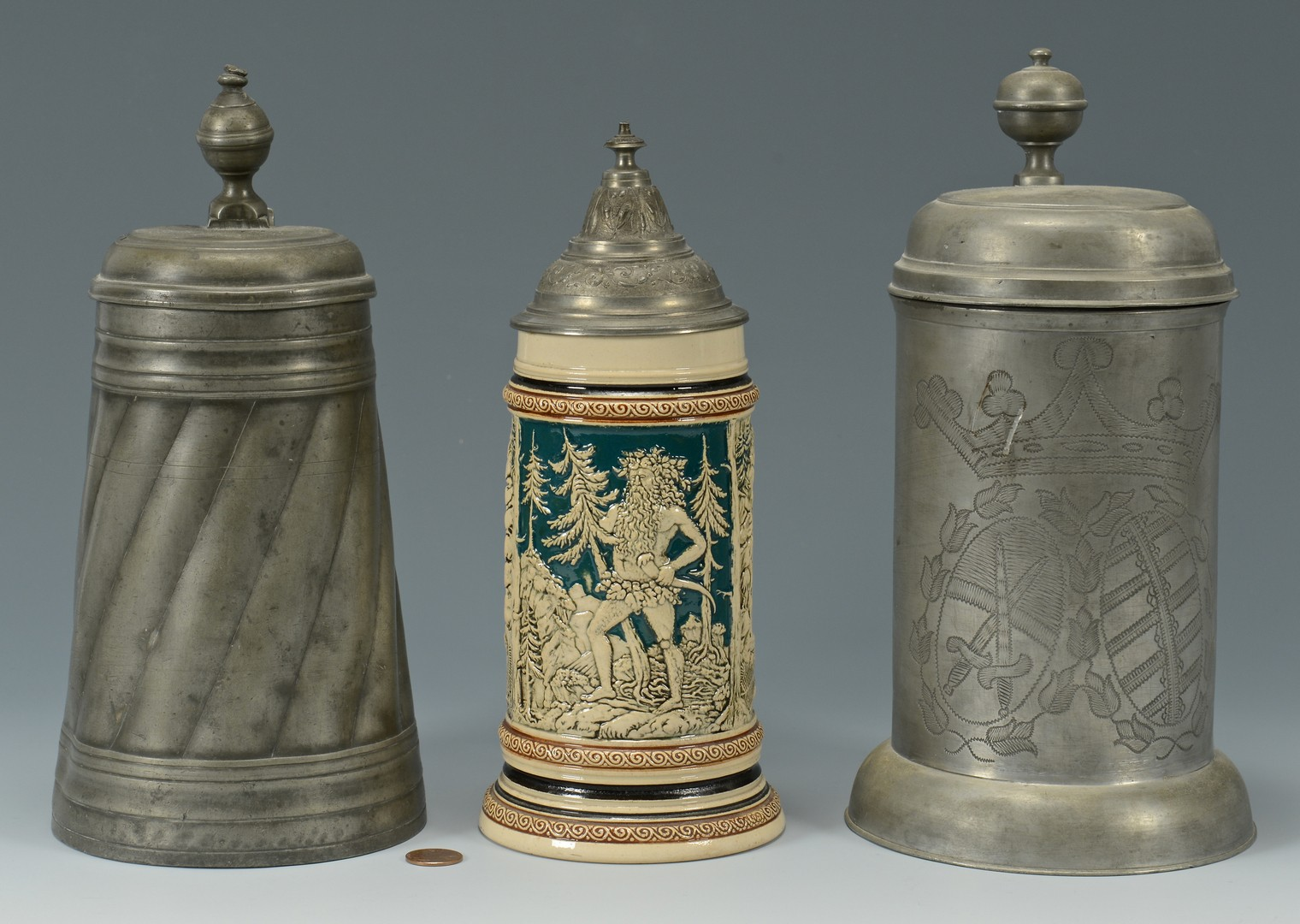Lot 769: 3 Ceramic and Pewter Steins