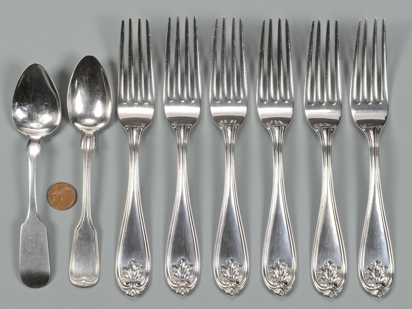 Lot 76: 8 pcs. Natchez Coin Silver Flatware