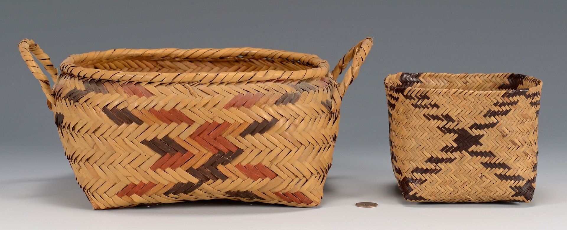 Lot 777: 2 Native American Baskets, Choctaw & Chitimacha