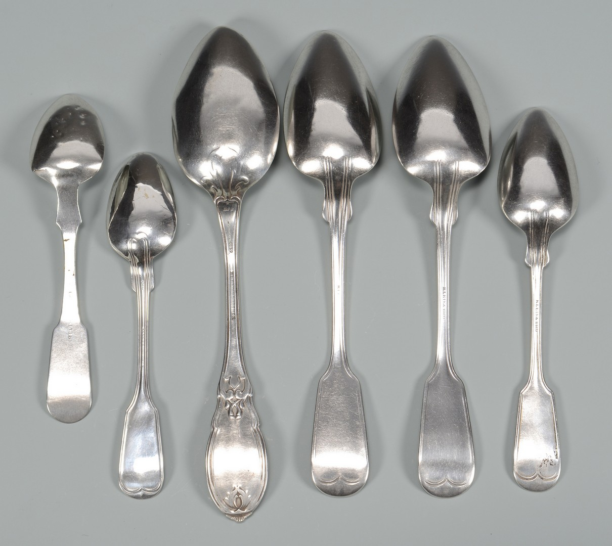 Lot 77: 6 Klein Miss. coin silver spoons