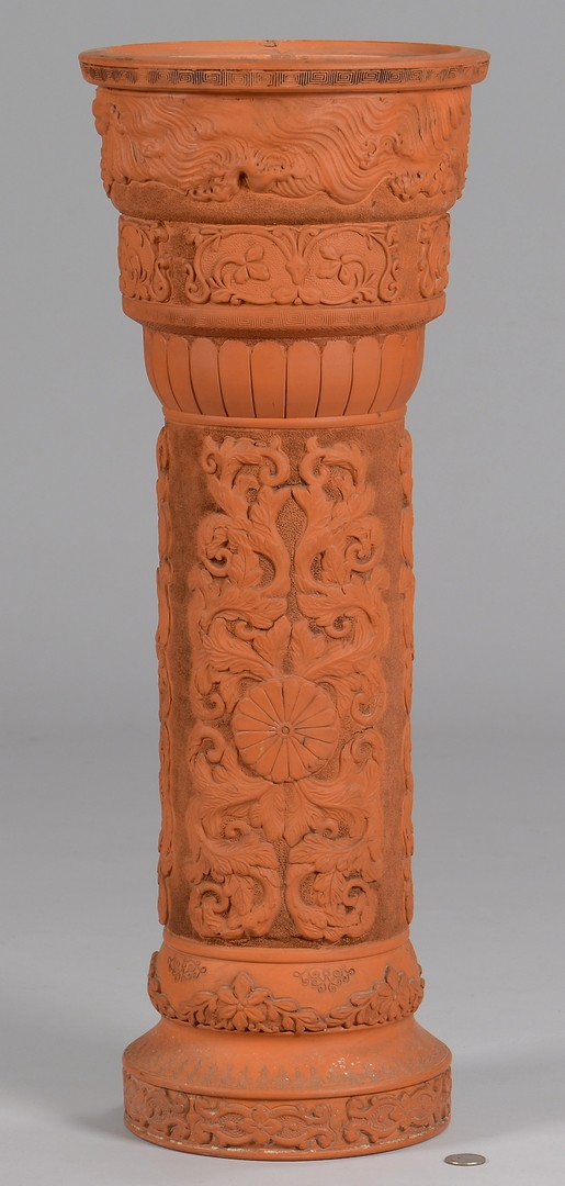 Lot 786: Chinese Yixing Plant Stand & Embroidery