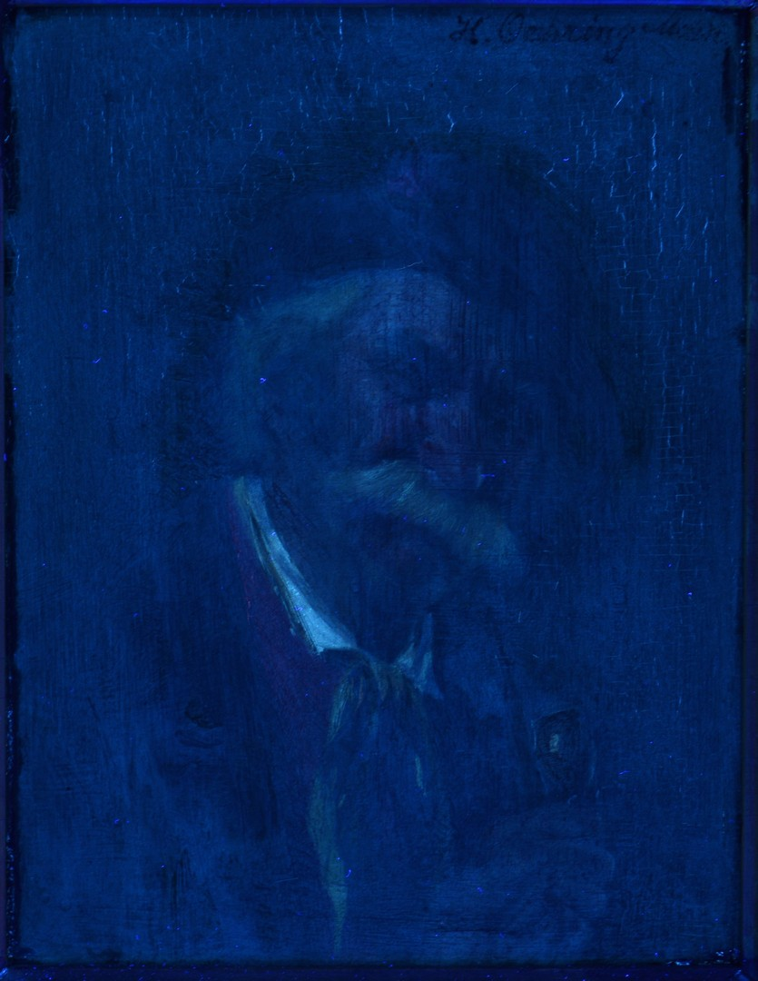 Lot 789: Oil on Board of Gentleman w/ Pipe, Oehring