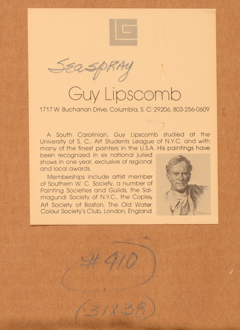 Lot 792: Guy Lipscomb Seascape Watercolor