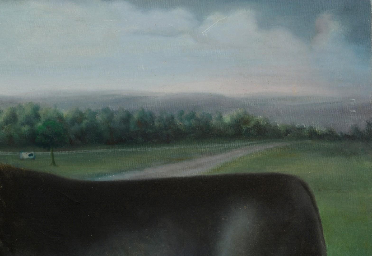 Lot 793: Folk Art Oil on Canvas of Bull, signed Riley