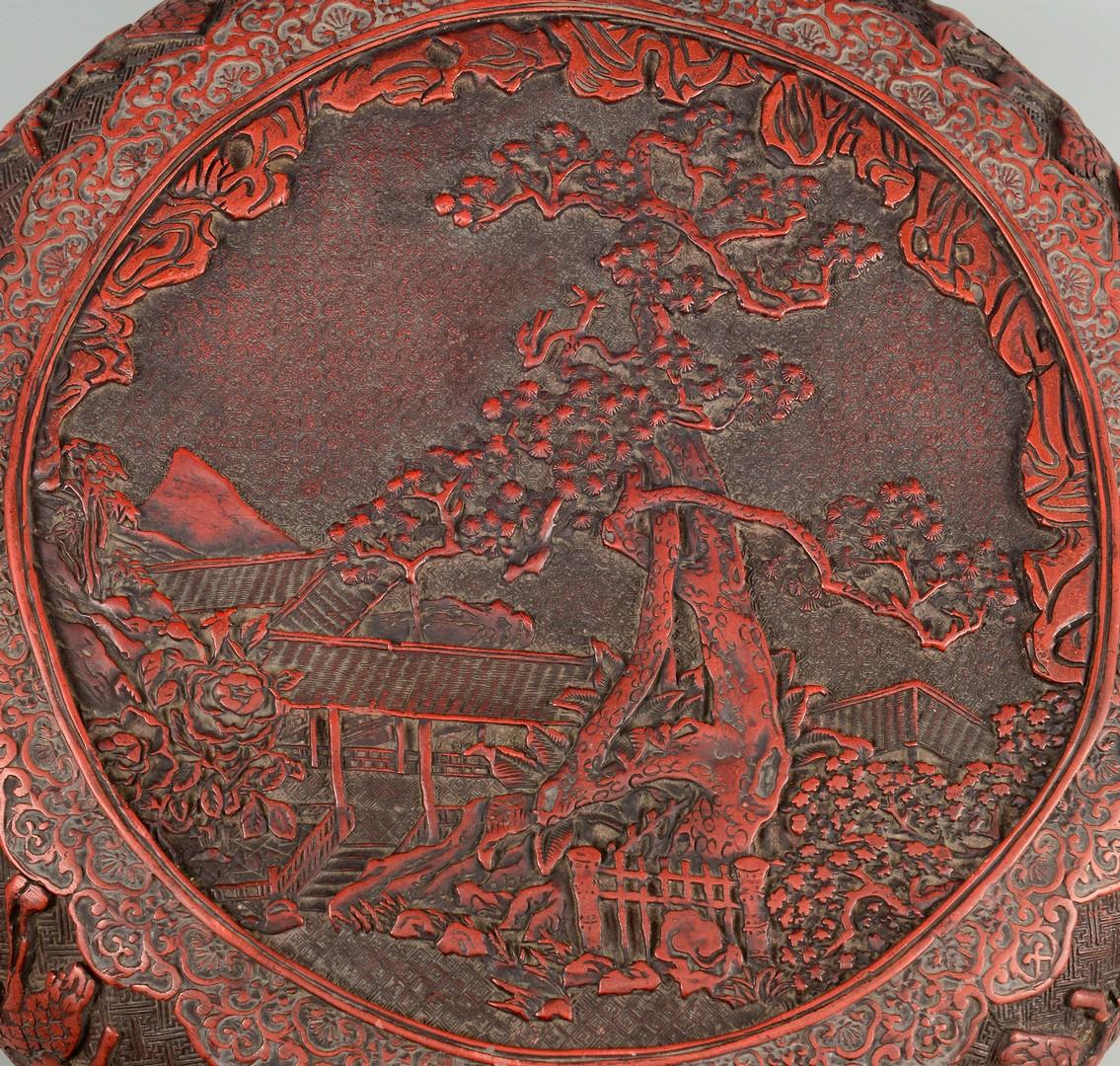 Lot 7: Chinese Cinnabar Covered Circular Box