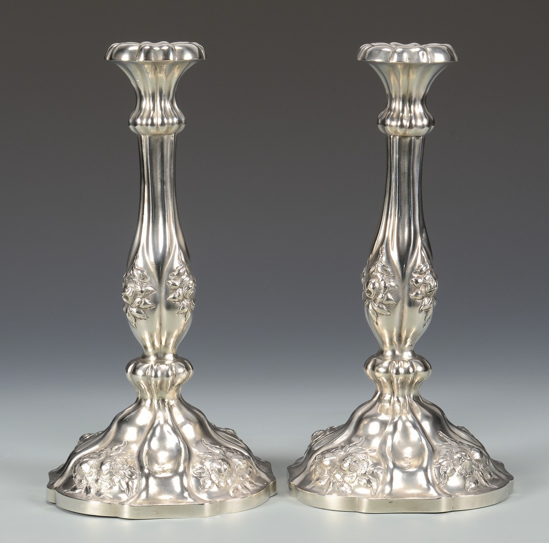 Lot 805: 2 Large Silver Candlesticks plus more