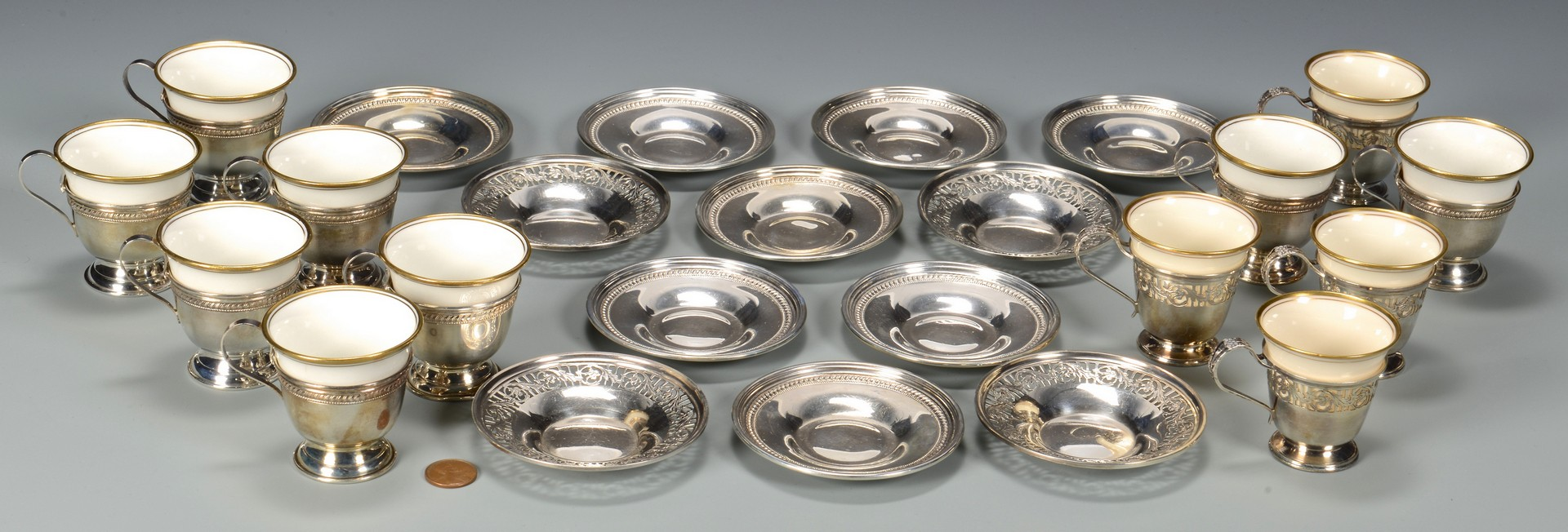 Lot 811: Sterling Demitasse Cups/Saucers