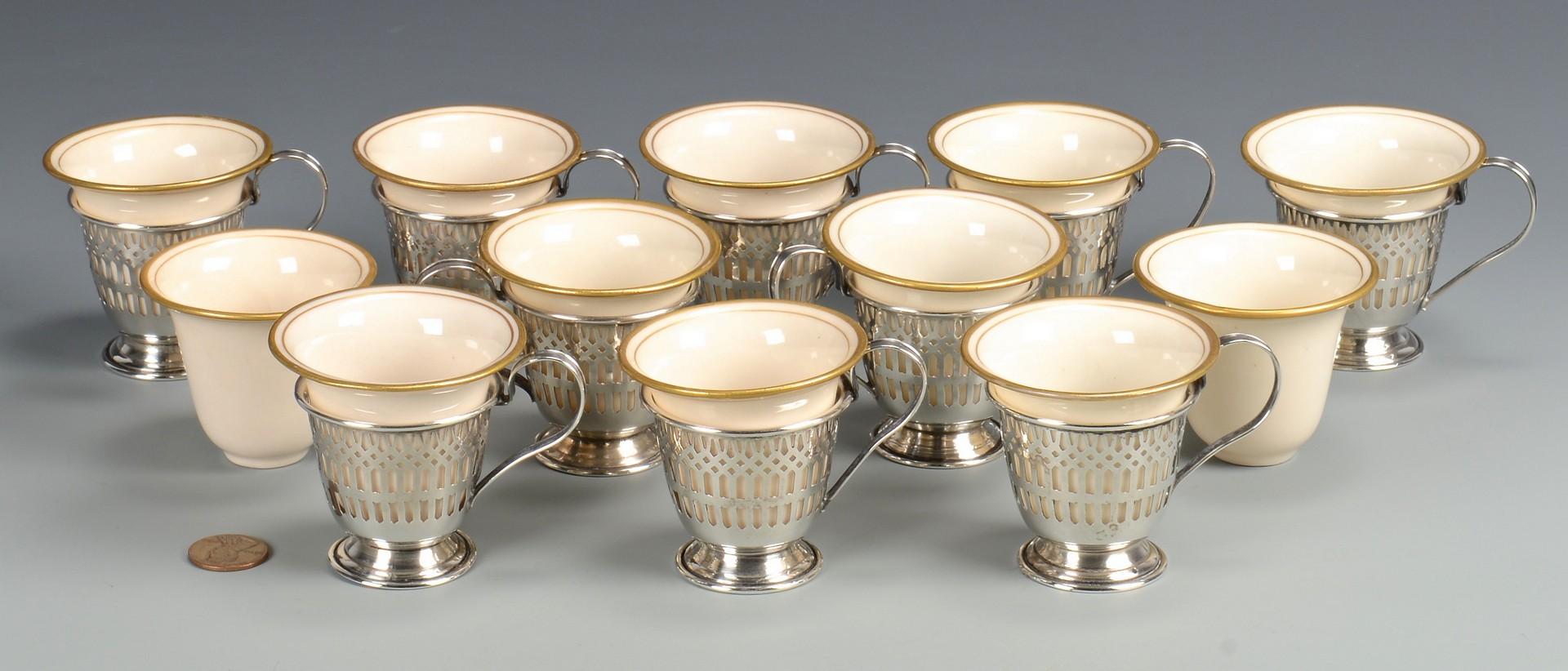 Lot 813: 10 Porcelain and Sterling demitasse cups