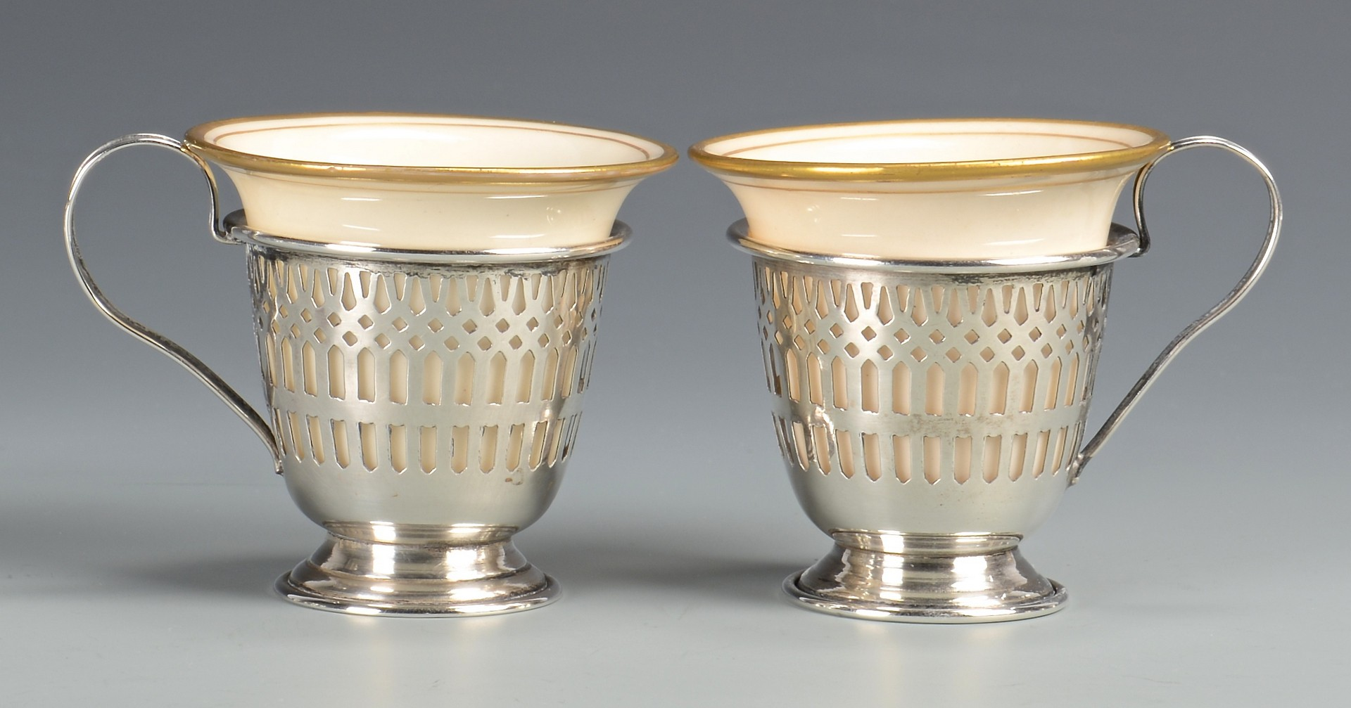 Lot 813: 10 Porcelain and Sterling demitasse cups