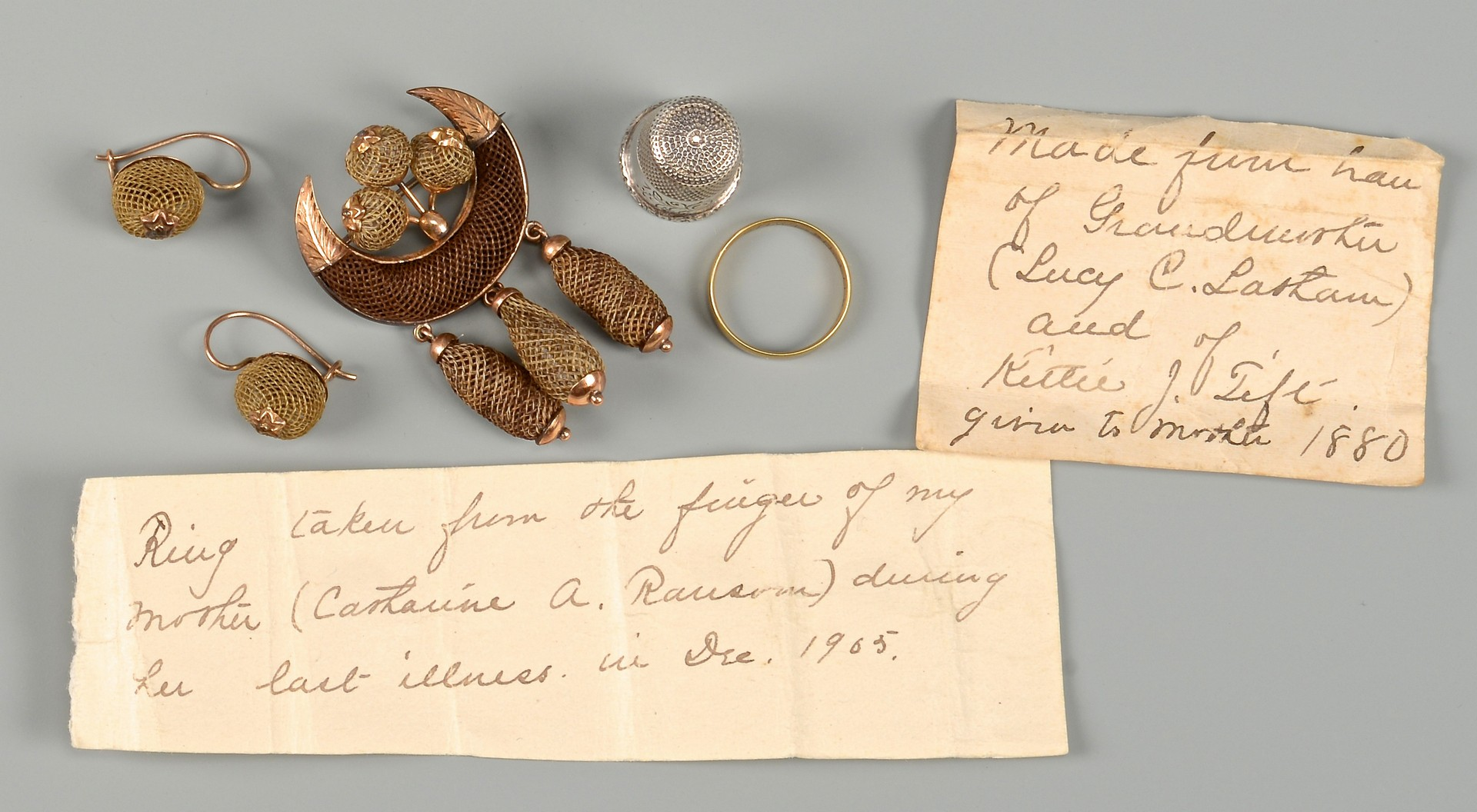 Lot 828: Victorian Hair Work Mourning Brooch & Earrings