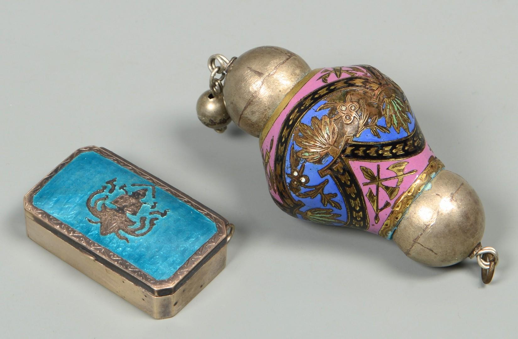 Lot 830: 6 pcs, 4 Enameled & 2 Egyptian items