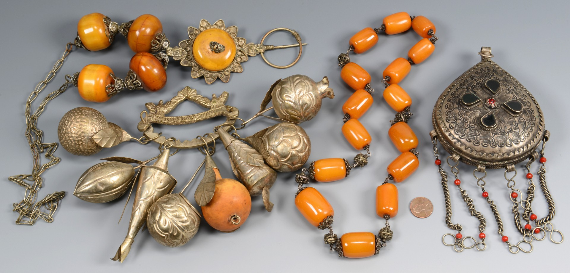 Lot 831: Baltic Amber Jewelry & Far East accessories