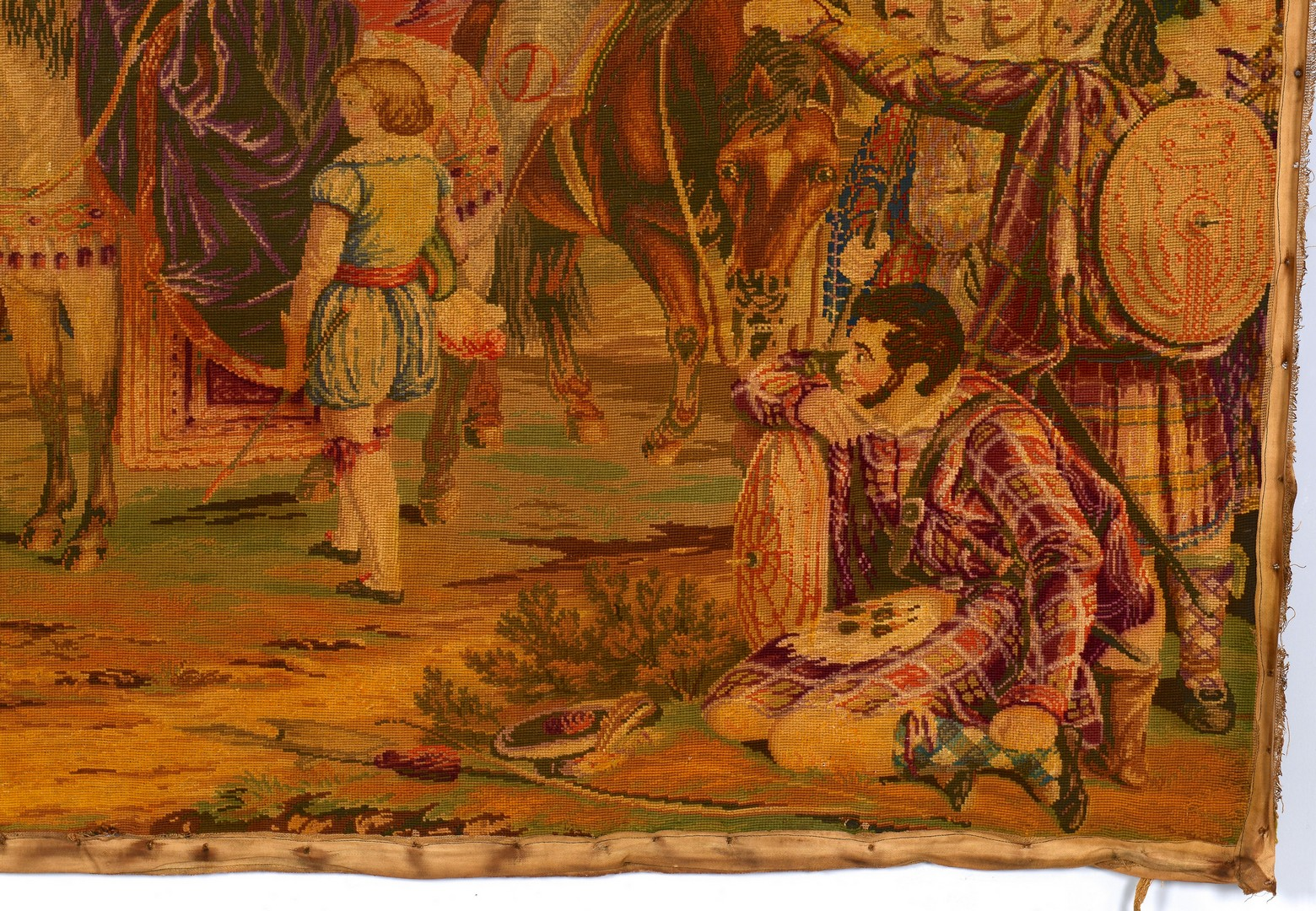 Lot 847: 19th c. Embroidered Tapestry, Medieval Scene