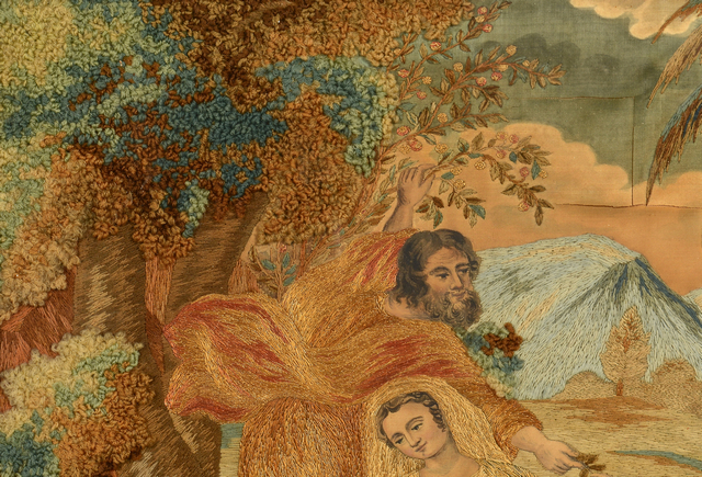Lot 848: 19th C. Needlework & Watercolor Madonna & Child Scene