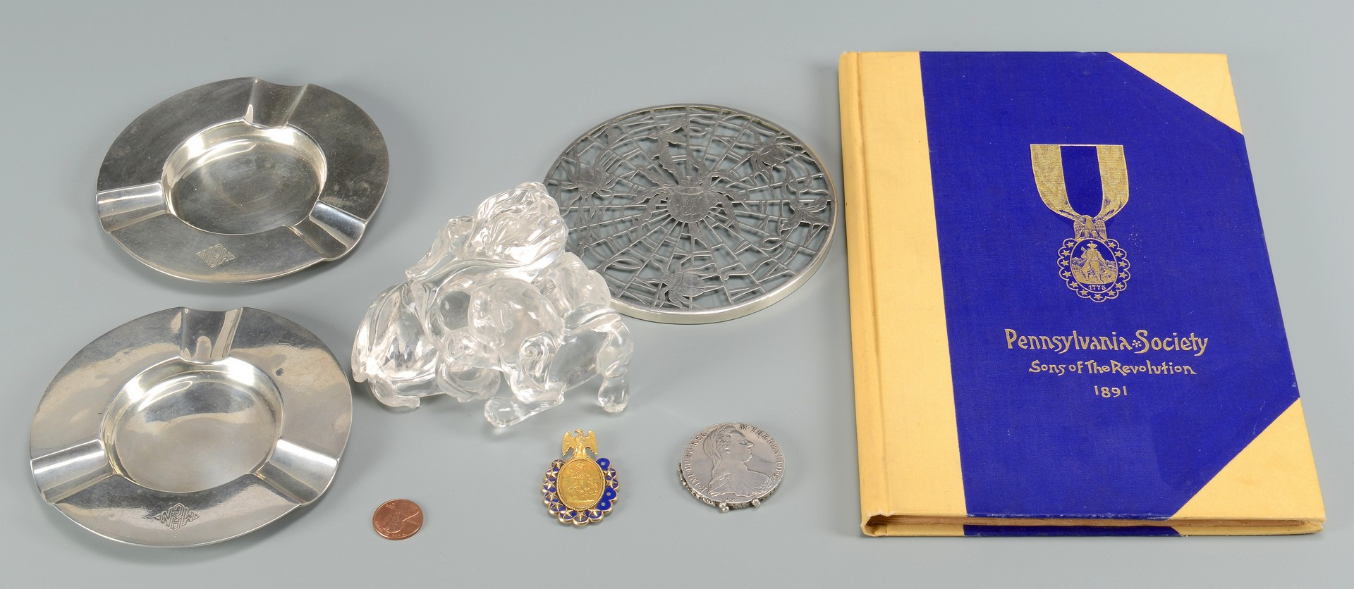 Lot 855: 14K Medal, Coins, Sterling, and Crystal, 7 items