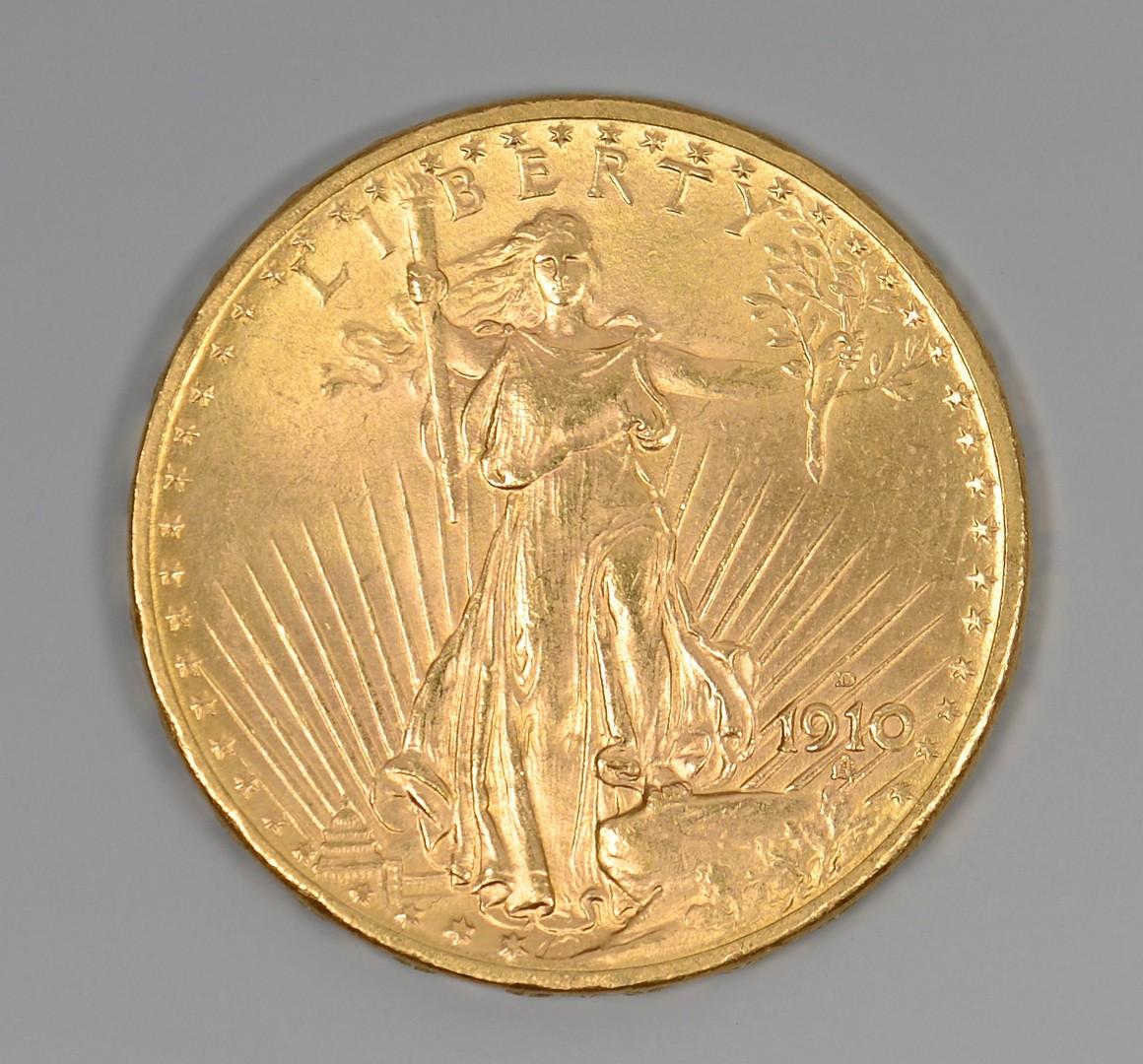 Lot 857: 1910-D $20 St. Gauden Gold Coin