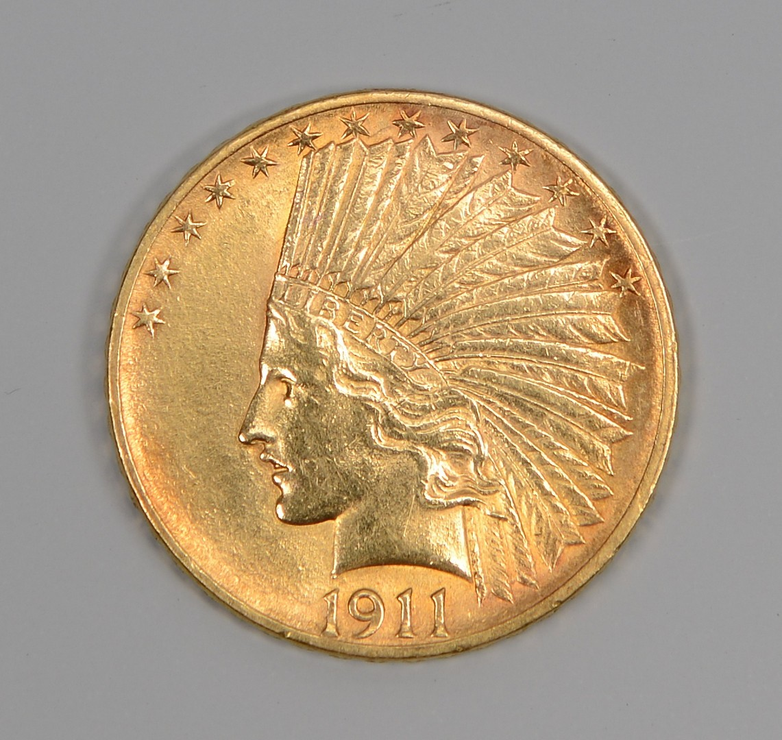 Lot 860: 1911 US $10 Indian Head Gold Coin