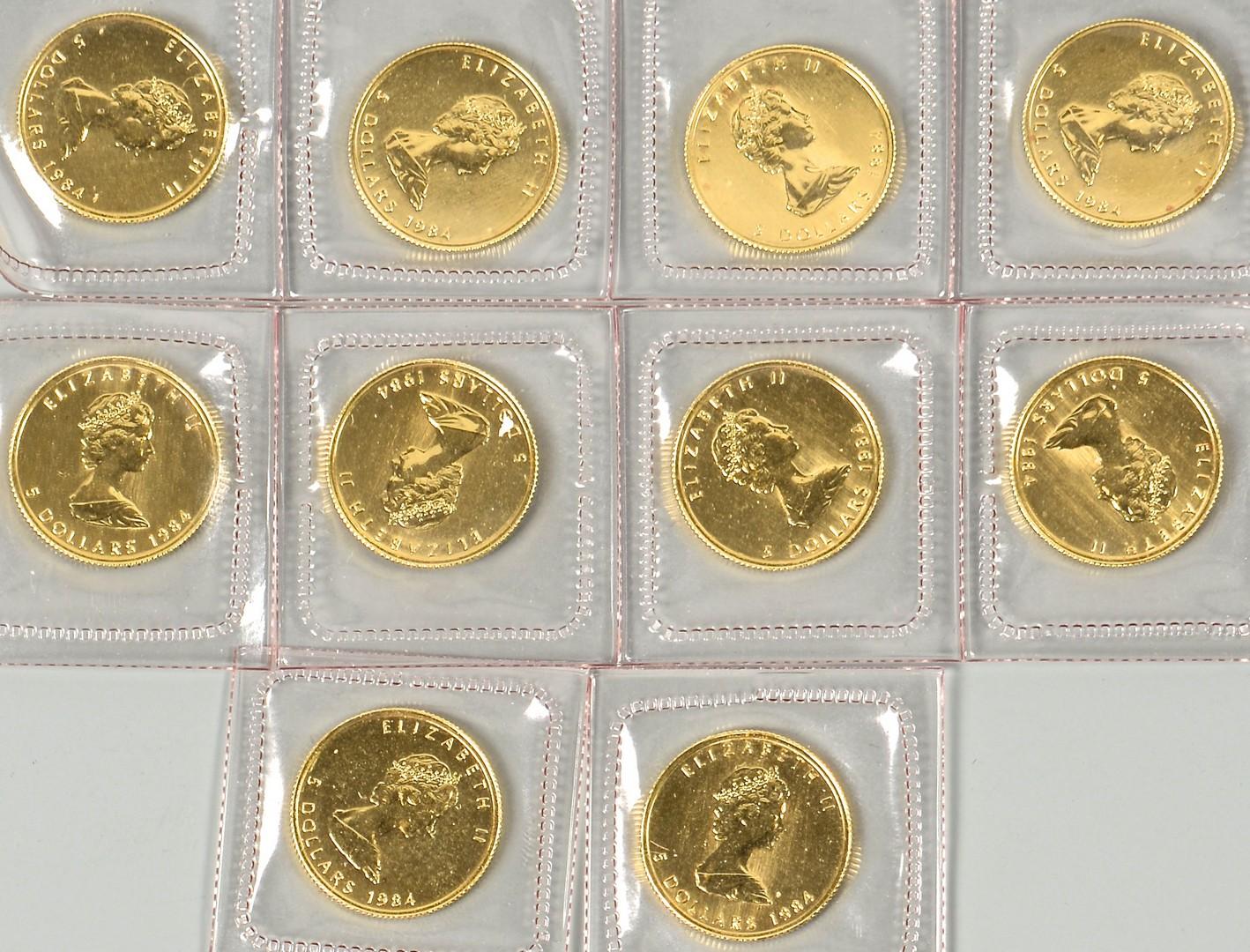 Lot 863: 10 Canadian Maple Leaf 1/10 24K Coins