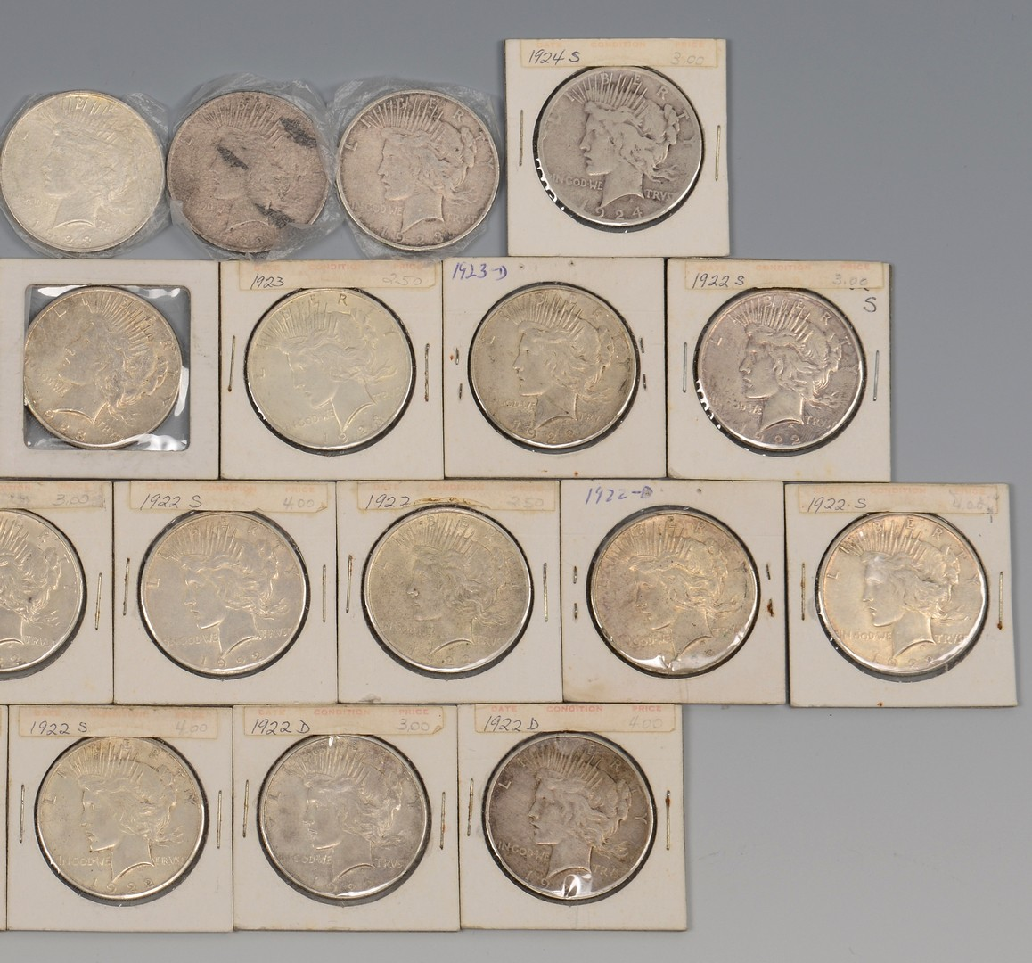Lot 866: Group of 31 Silver Peace Dollars, 1922-1924