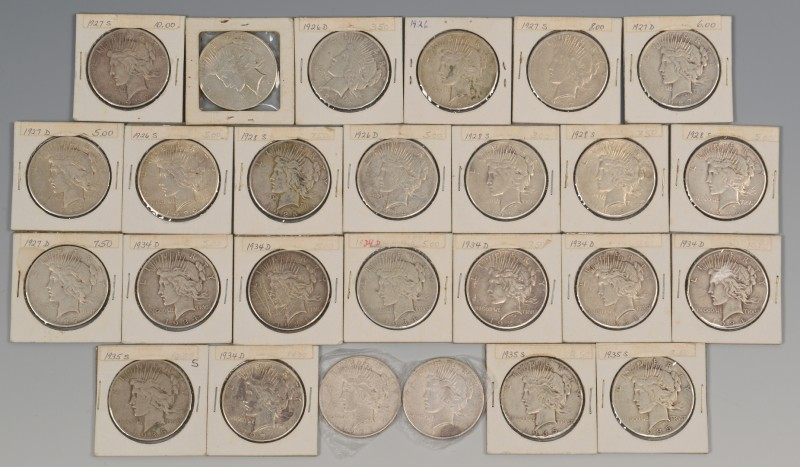 Lot 867: Group of 26 Silver Peace Dollars, 1926-1935.