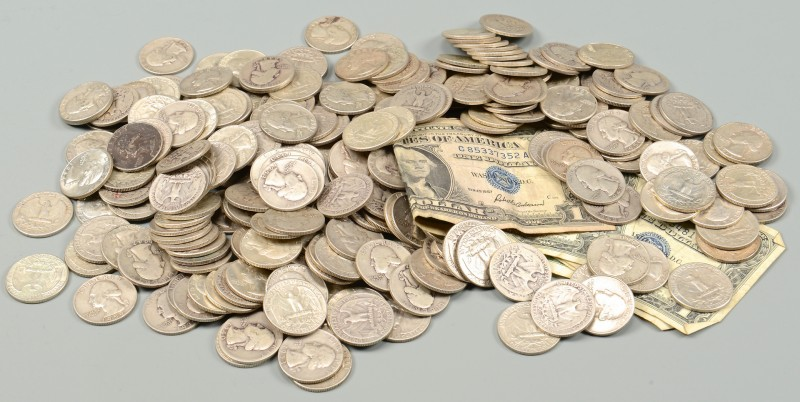 Lot 870: Grouping of US Silver Certificates & Coins