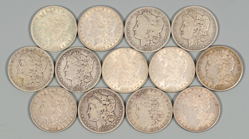 Lot 872: 13 US Morgan Silver Dollars