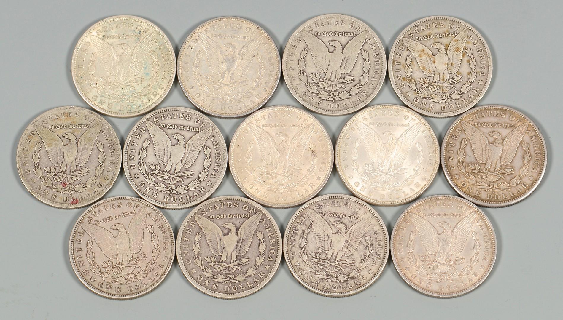 Lot 872: 13 US Morgan Silver Dollars