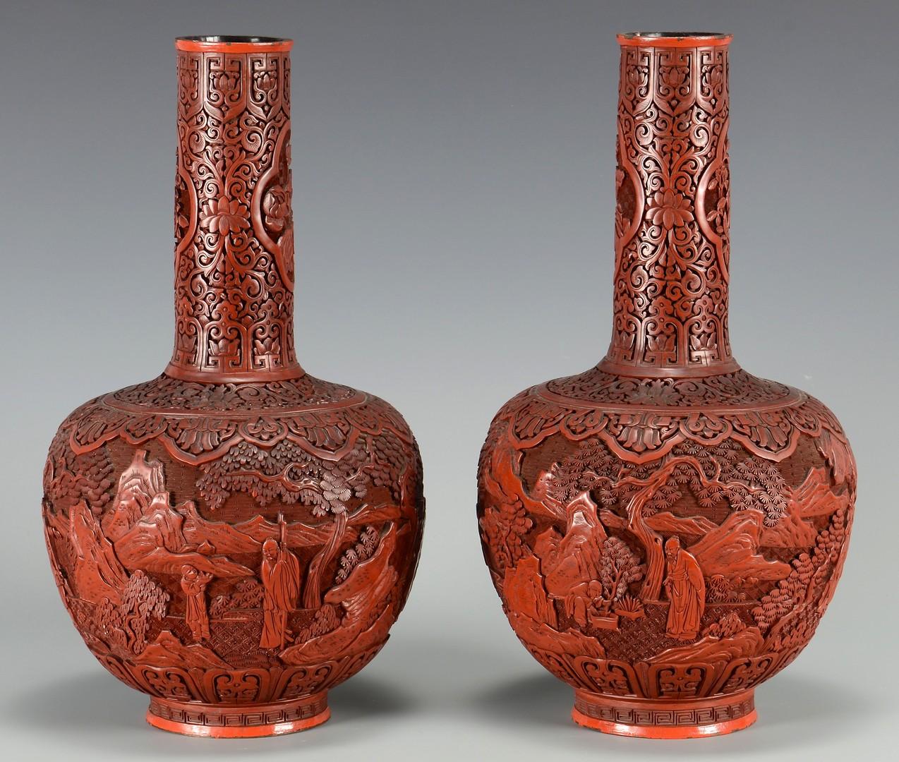 Lot 8: Pr. Chinese Cinnabar Bottle Form Vases
