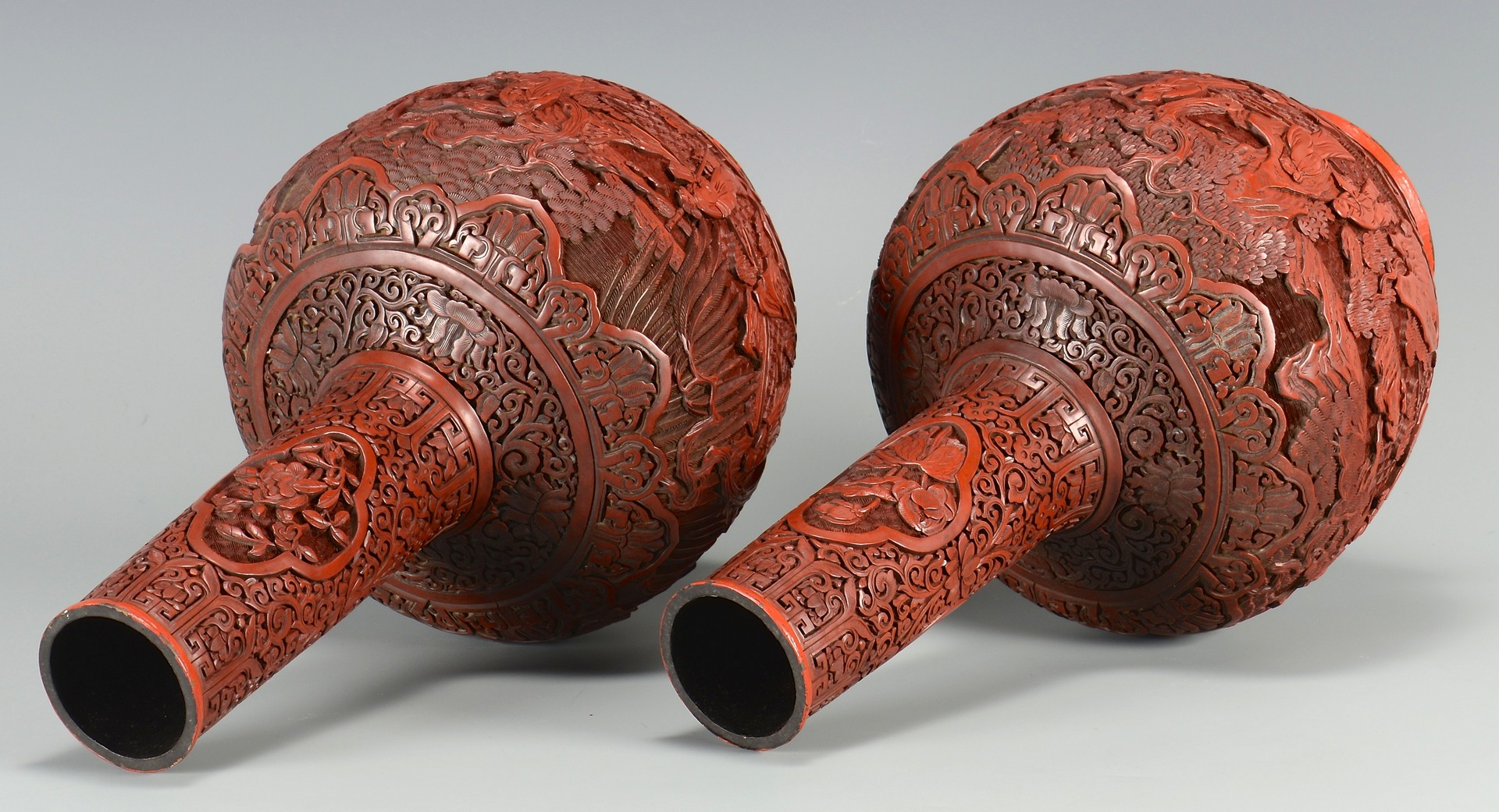 Lot 8: Pr. Chinese Cinnabar Bottle Form Vases