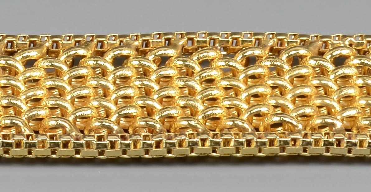 Lot 98: Woman's 14K Gold Woven Bracelet
