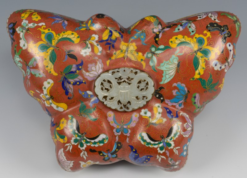 Lot 9: Chinese Cloisonne Butterfly Form Box w/ Jade Insert