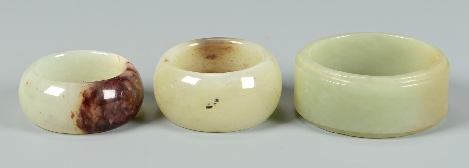 Lot 3832368: 4 Chinese Hardstone & Jade Bangles