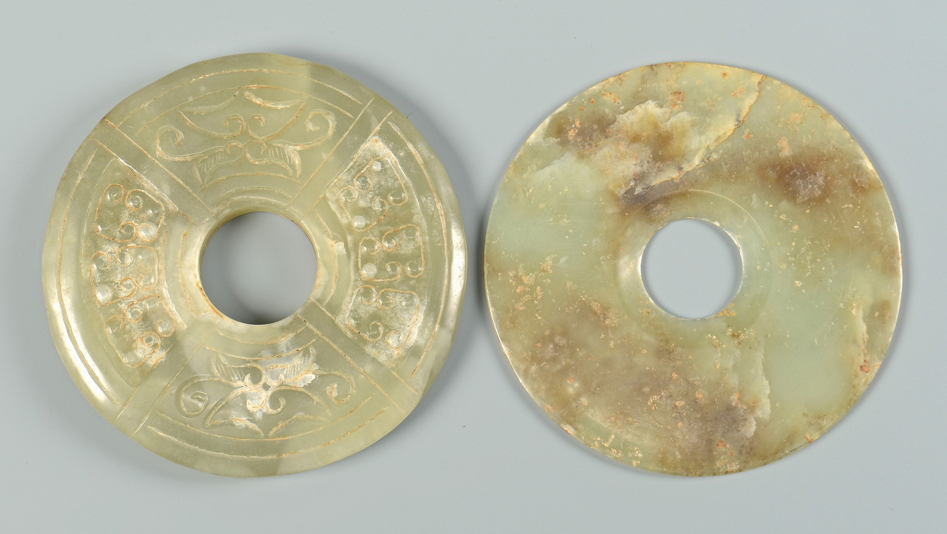 Lot 3832370: 4 Carved Chinese Jade & Hardstone Discs