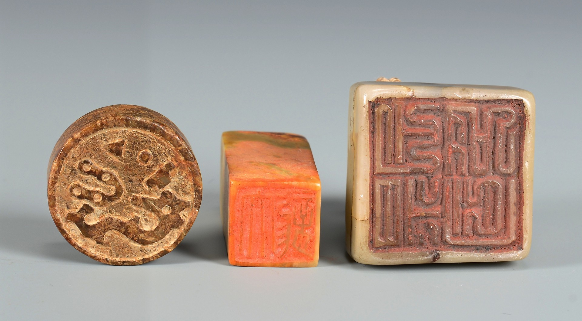 Lot 3832371: 3 Chinese Hardstone Seals