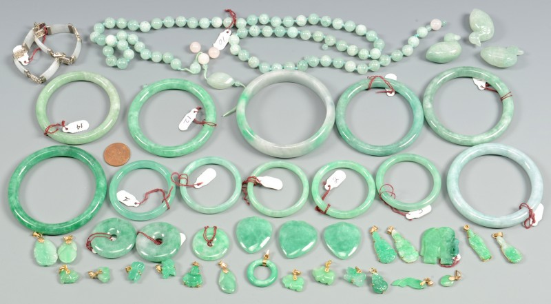 Lot 3832373: Large Lot Chinese Jade Beads, Charms and Bracelets