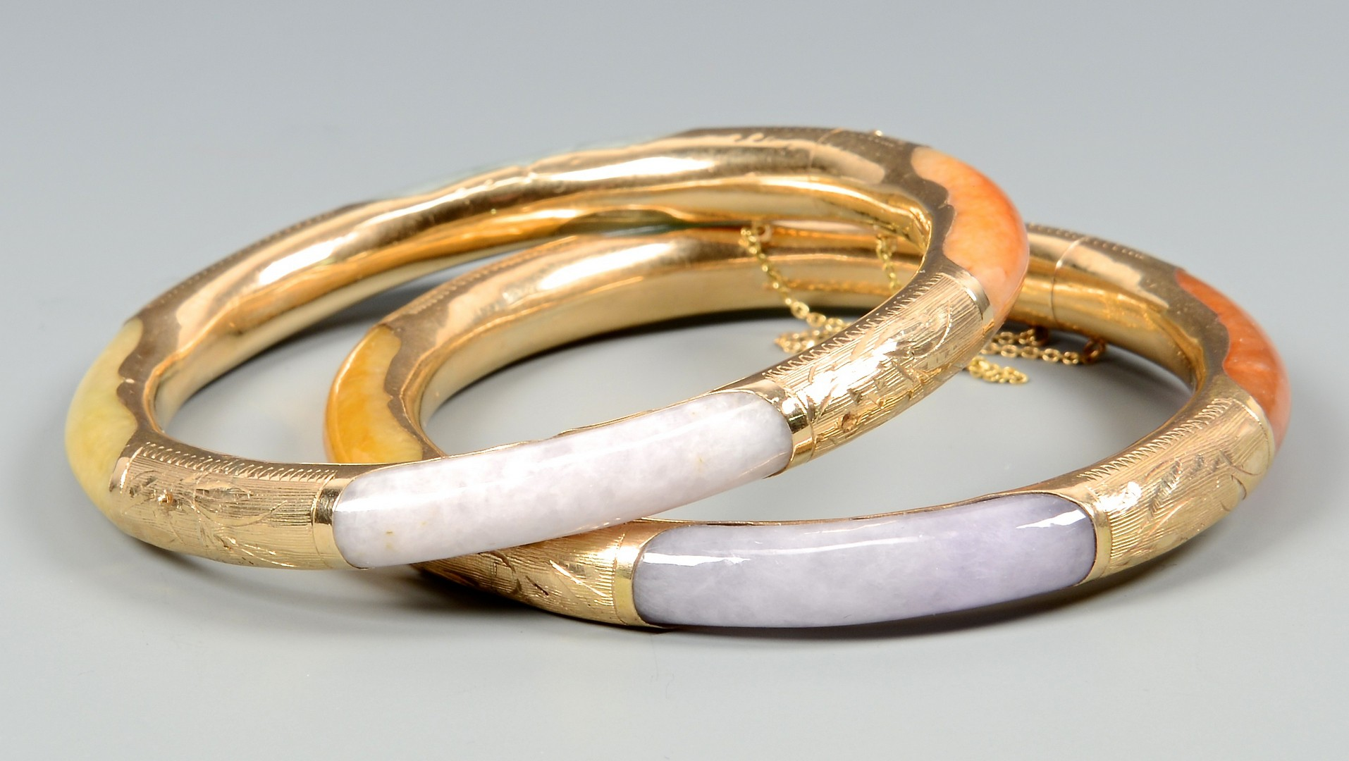 Lot 3832374: Two 14K Multicolored Jade Bracelets