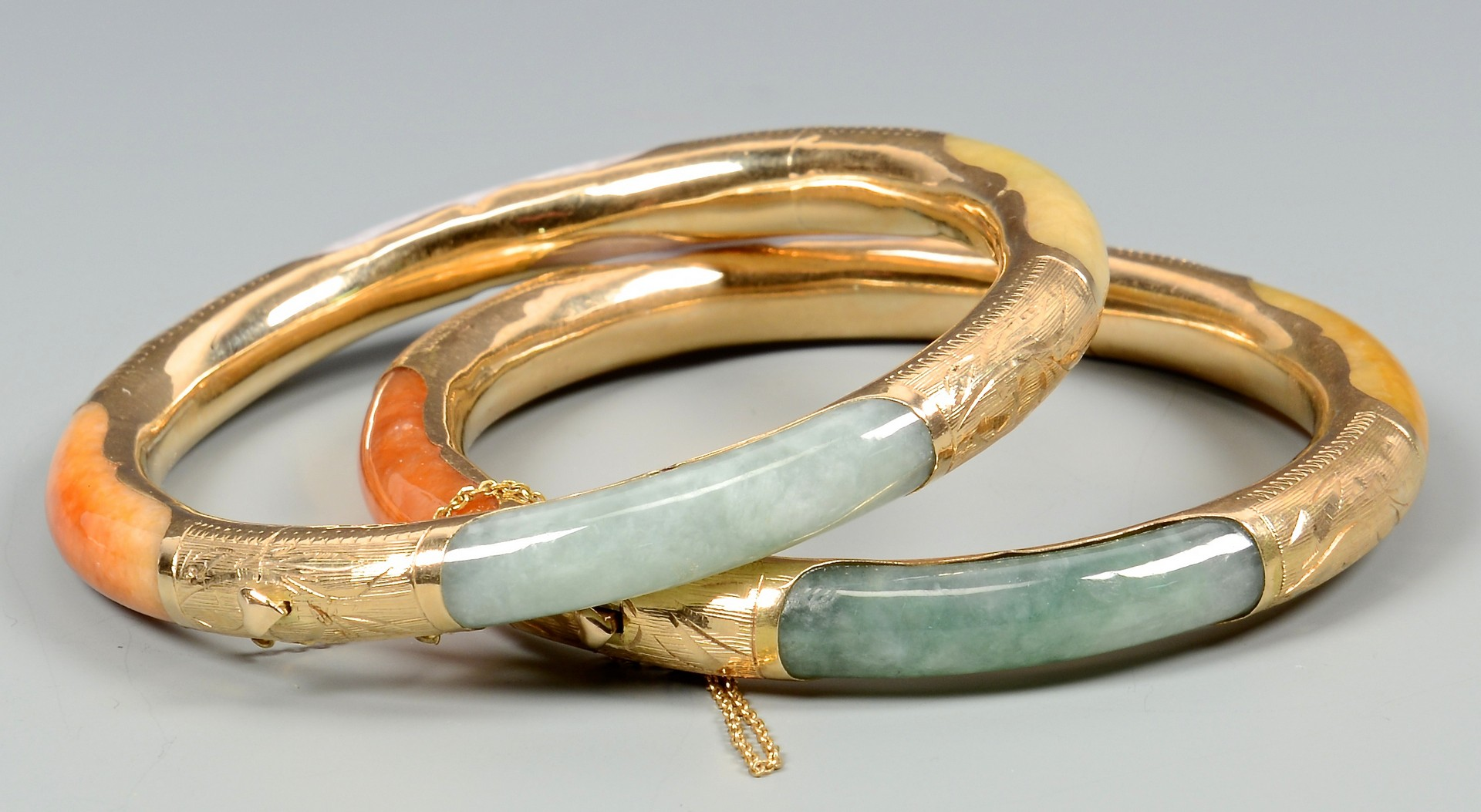 Lot 3832374: Two 14K Multicolored Jade Bracelets