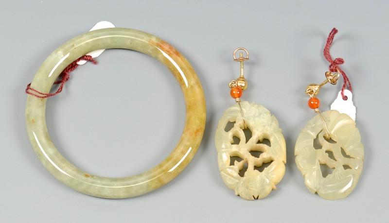 Lot 3832376: Carved Jade Earrings and Bracelet