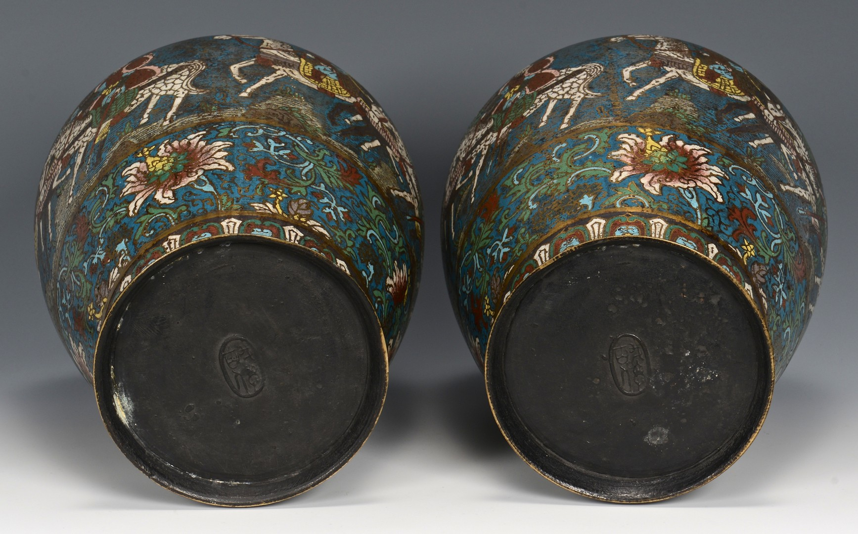 Lot 3832391: Pair of Champleve Vases