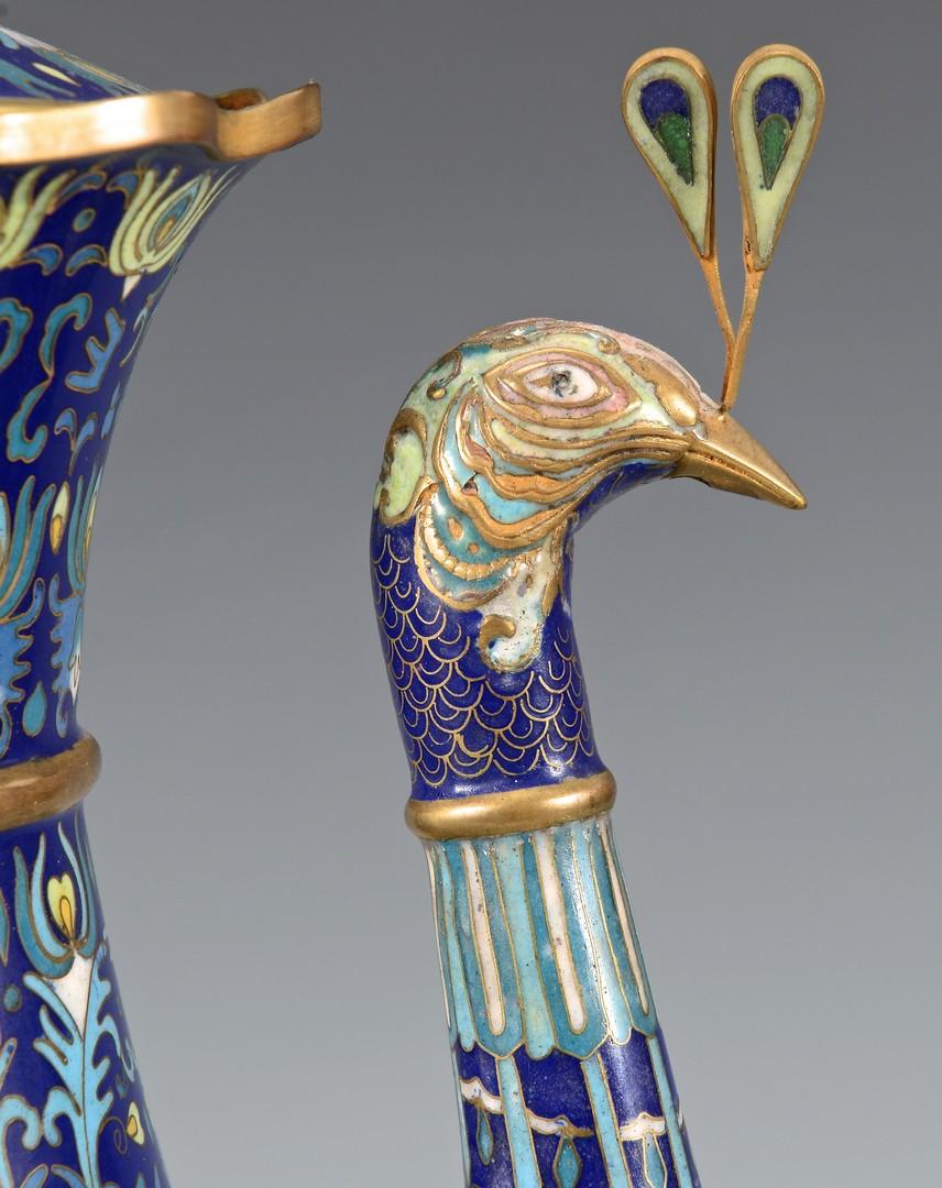 Lot 3832392: Cloisonne Plate and World's Fair Peacock Ewer