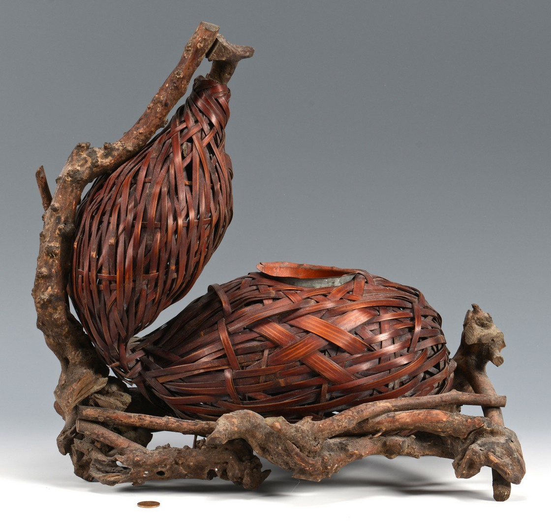 Lot 3832396: Early 20th Cent. Japanese Figural Ikebana Basket
