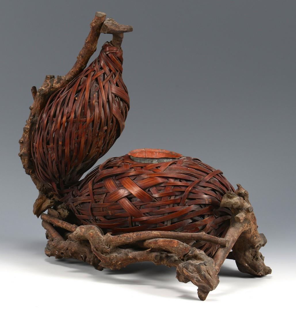 Lot 3832396: Early 20th Cent. Japanese Figural Ikebana Basket