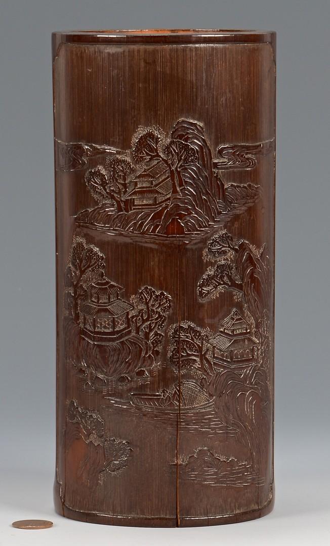 Lot 3832397: 3 Brush Pots & Soapstone Vase