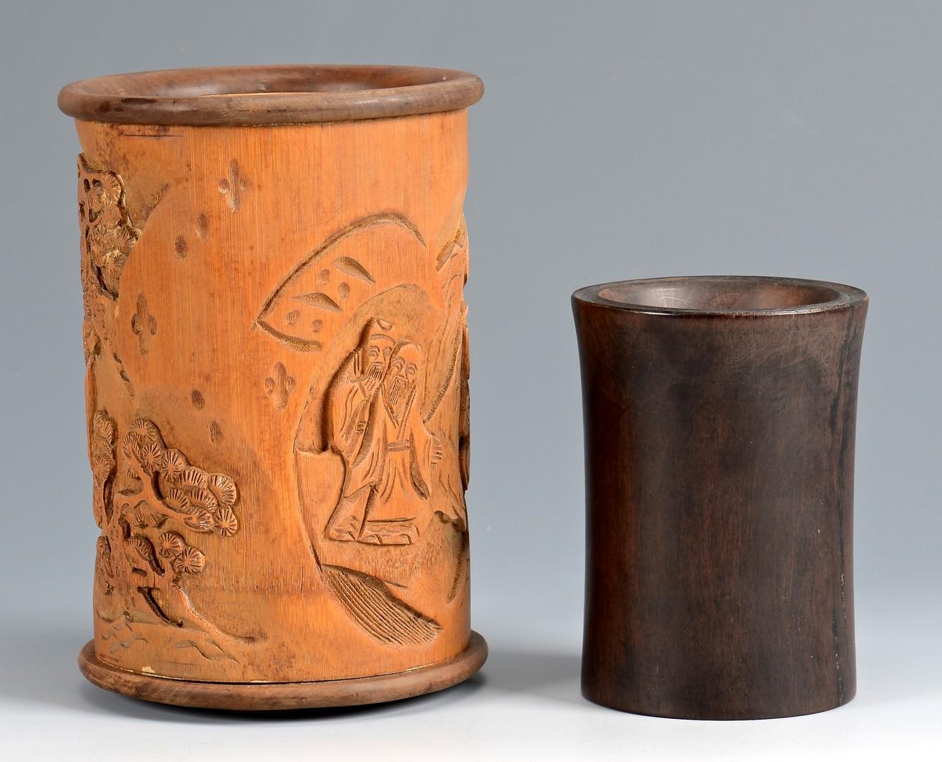 Lot 3832398: 2 Hardwood Brush Pots, poss. Huanghuali and Zitan