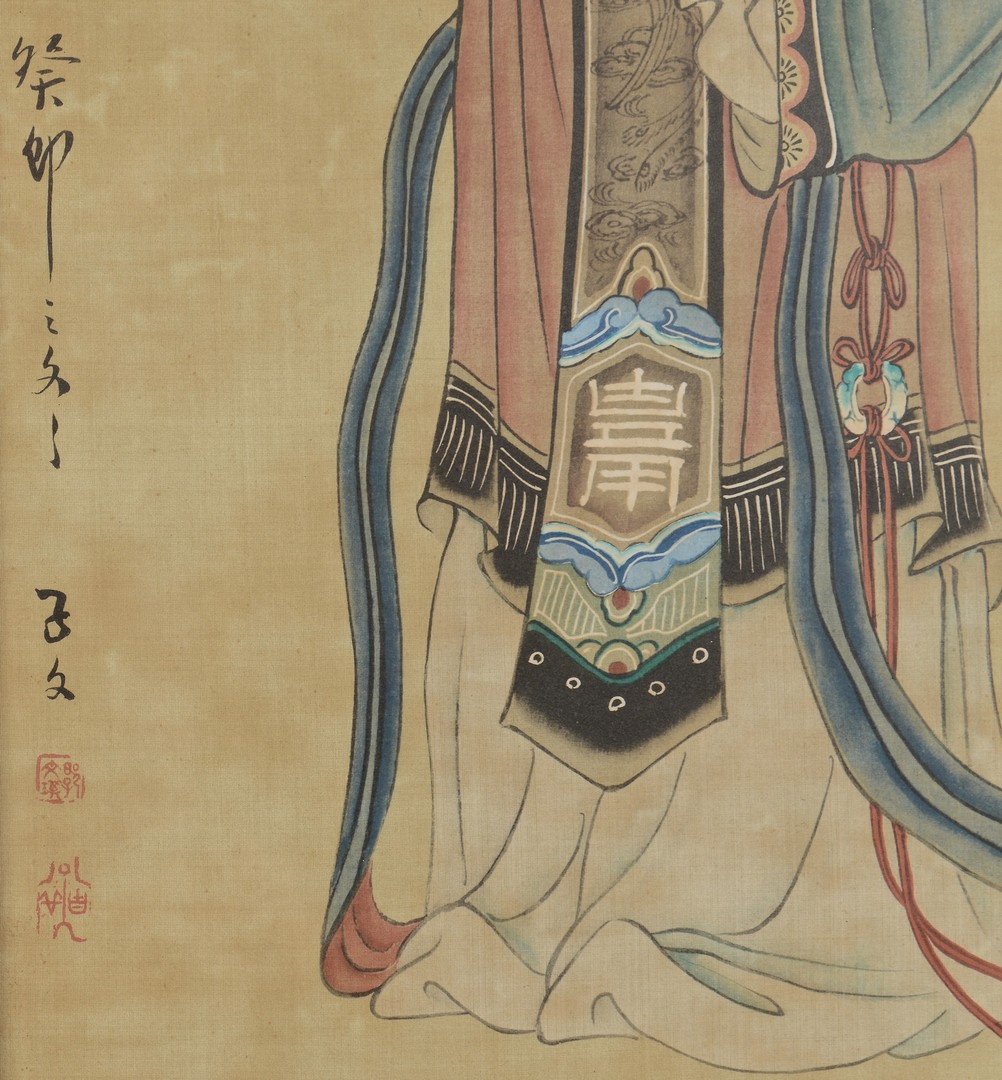 Lot 3832402: Pair Asian Musician Paintings on Silk