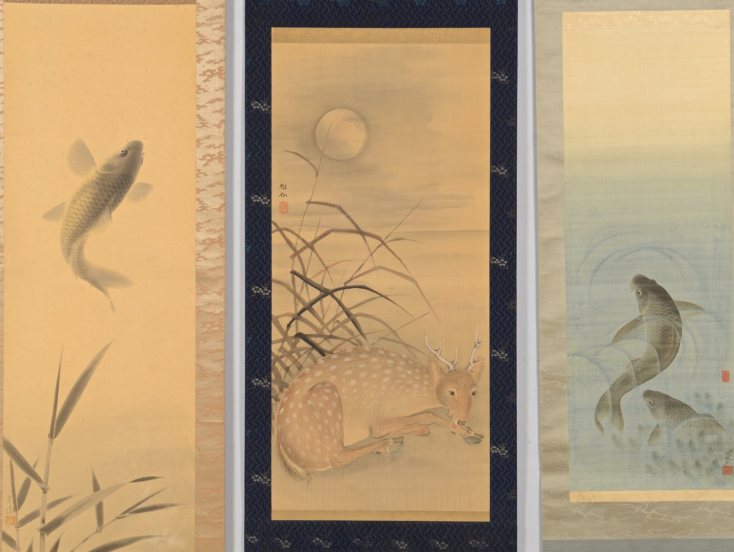 Lot 3832406: 3 Japanese Scroll Paintings, Animal Themed