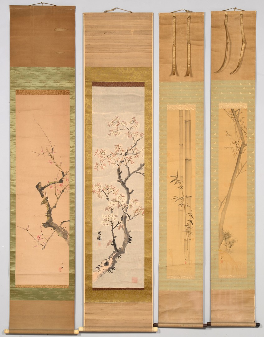 Lot 3832409: Group of 4 Japanese Scroll Paintings, Nature Themes